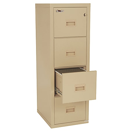 """FireKing® Turtle 22-1/8""""D Vertical 4-Drawer Insulated Fireproof File Cabinet, Metal, Parchment, Dock-To-Dock Delivery"""