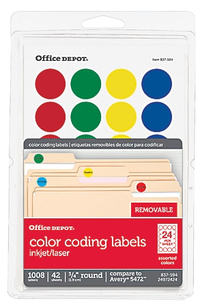 """Office Depot® Brand Removable Round Color-Coding Labels, OD98785, 3/4"""" Diameter, Assorted Colors, Pack Of 1,008"""