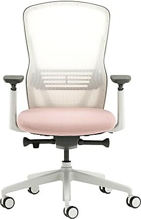 Allermuir Ousby Ergonomic Fabric Mid-Back Task Chair, Light Gray/Snow/Blush