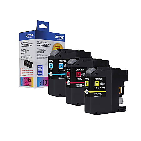 Brother® LC101-3PKS Cyan/Magenta/Yellow Ink Cartridges, Pack Of 3