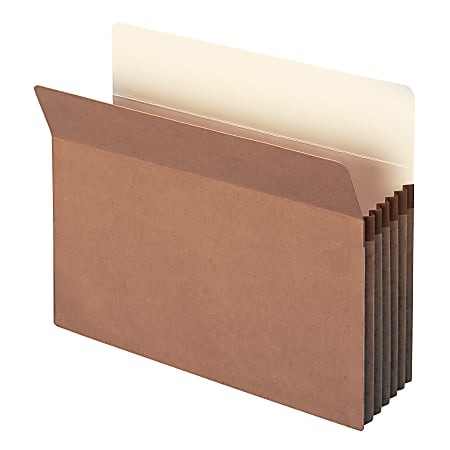 "Smead® Expanding File Pockets, 5 1/4"" Expansion, Letter Size, 100% Recycled, Redrope, Box Of 10"