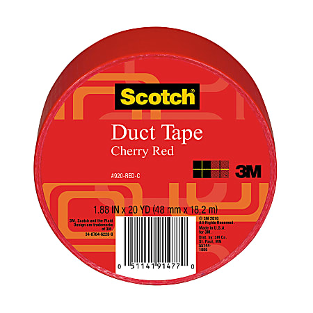 """Scotch® Colored Duct Tape, 1 7/8"""" x 20 Yd., Red"""