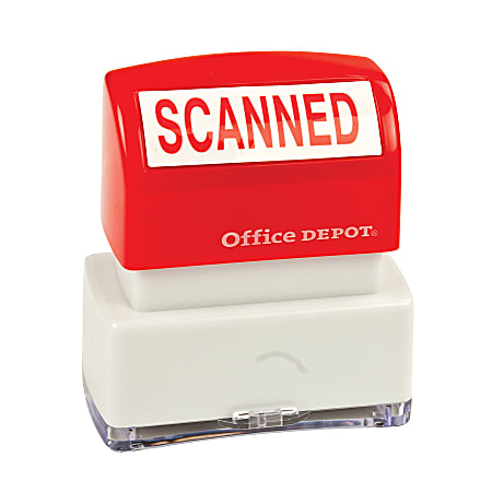 """Office Depot® Brand Pre-Inked Message Stamp, """"Scanned"""", Red"""