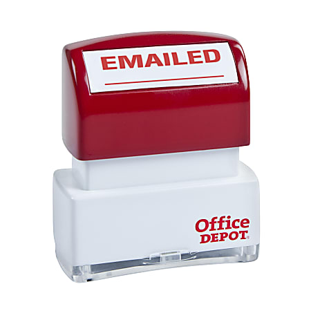 """Office Depot® Brand Pre-Inked Message Stamp, """"Emailed"""", Red"""