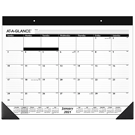 "AT-A-GLANCE® Refillable Monthly Desk Pad Calendar, 21-3/4"" x 17"", White, January To December 2021, SK2200"