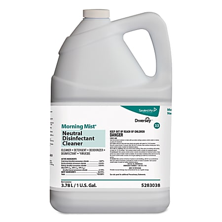 Diversey™ Morning Mist® Neutral Disinfectant Cleaner, Fresh Scent, 128 Oz, Pack Of 4 Cartons