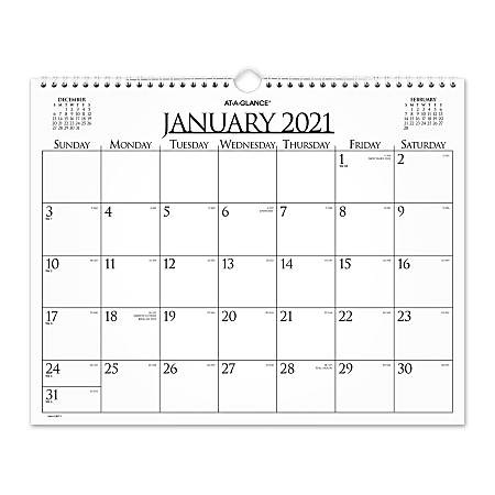 """AT-A-GLANCE® Business Monthly Wall Calendar, 15"""" x 12"""", January To December 2021, 997-1"""