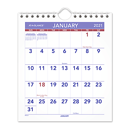 """AT-A-GLANCE® Monthly Desk/Wall Calendar,  6"""" x 7"""", January To December 2021, PM52821"""