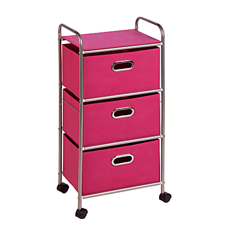 """Honey-can-do CRT-02348 3-Drawer Rolling Fabric Cart, Pink - 3 Drawer - 11.5"""" Length x 16.1"""" Width x 35.5"""" Height - Pink"""