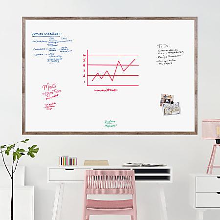 "U Brands Magnetic Dry Erase Board, 72"" X 48"", Brown Rustic MDF Decor Frame"