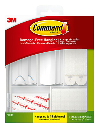Command™ Picture Hanging Kit, 3 Sawtooth Picture Hangers, 2 Wire-Backed Picture Hangers, 5 Large Strips, 4 Pairs of Large Picture Hanging Strips, 8 Pairs of Small Picture Hanging Strips, 16 Poster Strips