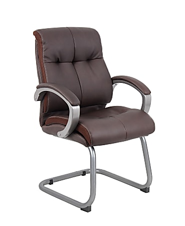 Boss Office Products Double-Plush Ergonomic Bonded LeatherPlus™ Mid-Back Guest Chair, Brown/Pewter