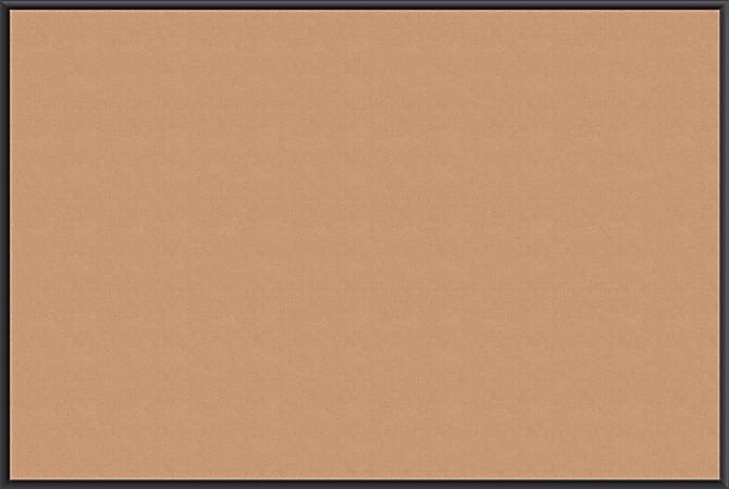 "U Brands Cork Bulletin Board, 72"" x 48"", Aluminum Frame With Black Finish"