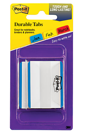 "Post-it® Durable Filing Tabs, 2"", Blue, Pack Of 50"