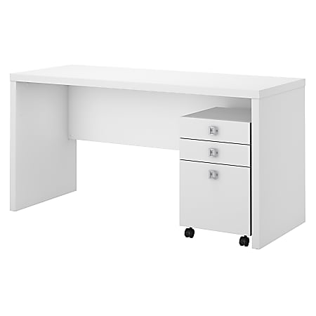 kathy ireland® Office by Bush Business Furniture Echo Credenza Desk With Mobile File Cabinet, Pure White/Pure White, Standard Delivery
