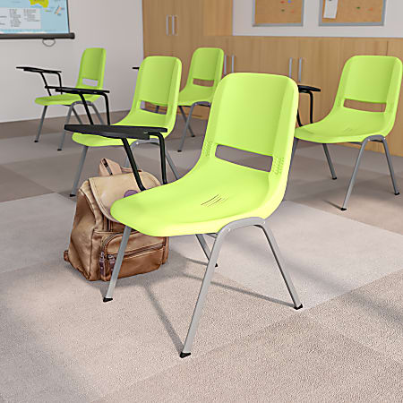 Flash Furniture Ergonomic Shell Chair With Right Handed Flip-Up Tablet Arm, Green