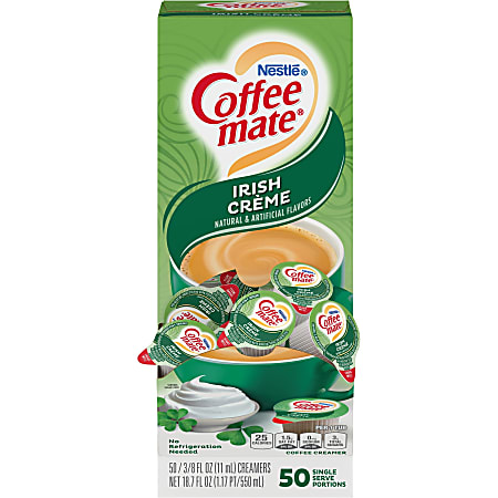 Nestlé® Coffee-mate® Liquid Creamer, Irish Crème Flavor, 0.37 Oz Single Serve x 50