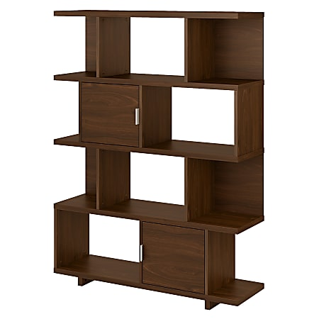 """kathy ireland® Home by Bush Furniture Madison Avenue 63""""H 4-Shelf Geometric Etagere Bookcase With Doors, Modern Walnut, Standard Delivery"""