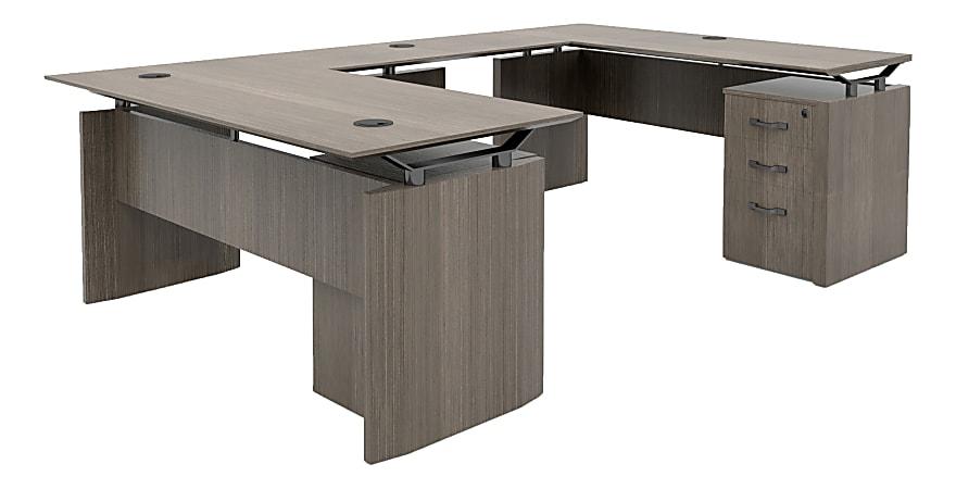 "Forward Furniture 66""W Diamond Double-Pedestal U-Desk, Colorado Walnut"