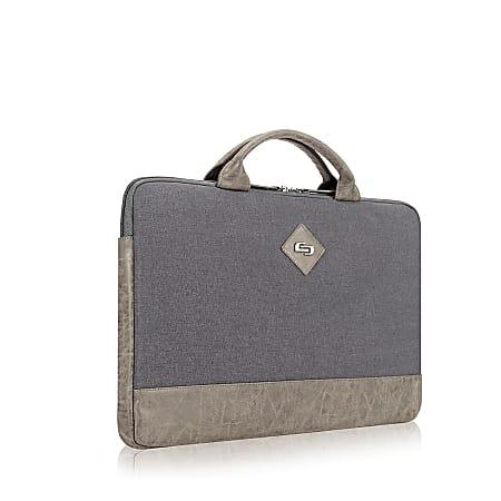 "Solo Pilot Slim Briefcase With 15.6"" Laptop Pocket, Gray/Tan"