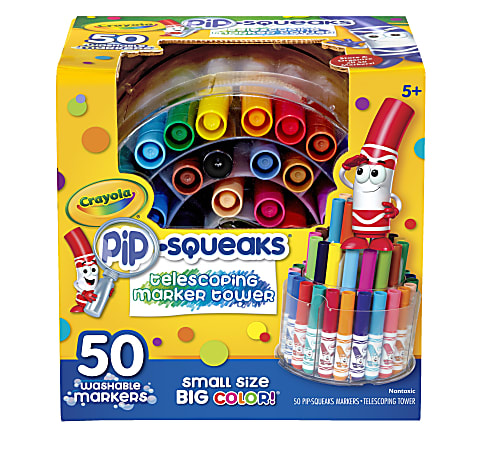 Crayola® Pip-Squeaks Markers With Tower Storage Case, Assorted Colors, Pack Of 50