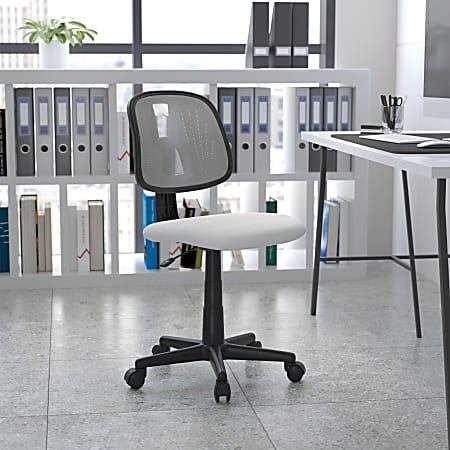 Flash Furniture Flash Fundamentals Mesh Mid-Back Swivel Task Office Chair With Pivot Back, White/Black