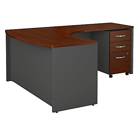 """Bush Business Furniture Components Bow-Front L-Shaped Desk, With 36""""W Return And 3-Drawer Mobile File Cabinet, 60""""W x 43""""D, Right Handed, Hansen Cherry, Standard Delivery"""