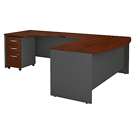 Bush Business Furniture Components 72W Bow Front L Shaped Desk With 72W Left Handed Return And 3 Drawer Mobile File Cabinet, Hansen Cherry, Standard Delivery