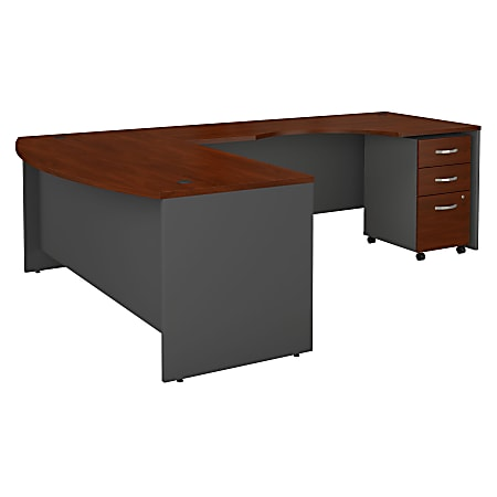 Bush Business Furniture Components 72W Bow Front L Shaped Desk With 72W Right Handed Return And 3 Drawer Mobile File Cabinet, Hansen Cherry, Standard Delivery