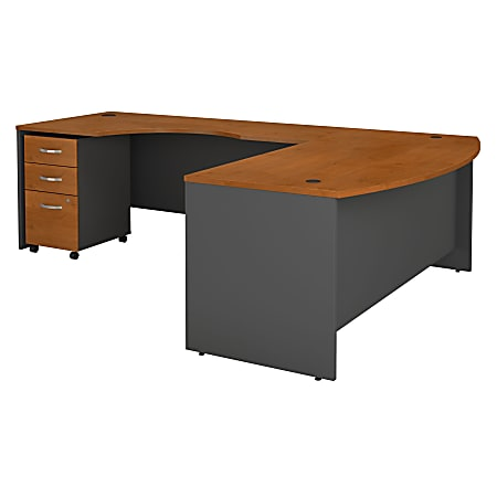 Bush Business Furniture Components 72W Bow Front L Shaped Desk With 72W Left Handed Return And 3 Drawer Mobile File Cabinet, Natural Cherry, Standard Delivery