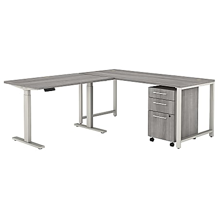 "Bush Business Furniture 400 Series 72""W L-Shaped Adjustable Desk With Storage, Platinum Gray, Standard Delivery"