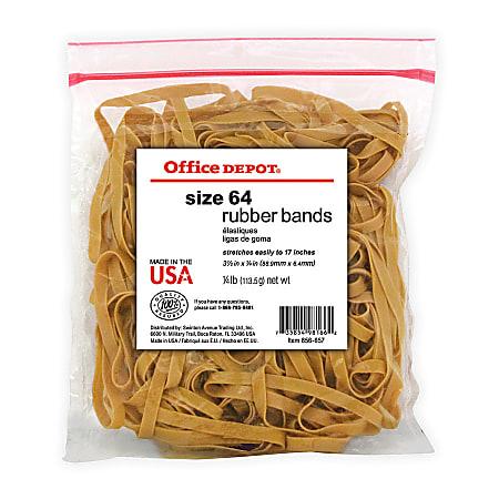 """Office Depot® Brand Rubber Bands, #64, 3 1/2"""" x 1/4"""", 1/4 Lb. Bag"""