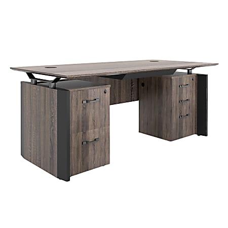 "Forward Furniture Allure 30""W Double Pedestal Desk With Center Drawer, Southern Walnut/Black"