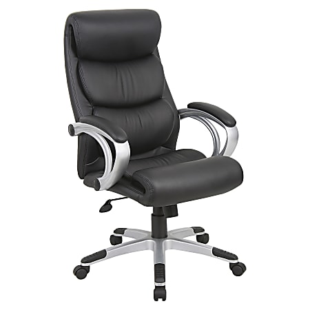 Lorell® Bonded Leather High-Back Chair, Black/Silver