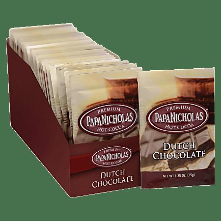 PapaNicholas Coffee Premium Dutch Chocolate Hot Cocoa, 1.25 Oz, Pack Of 24