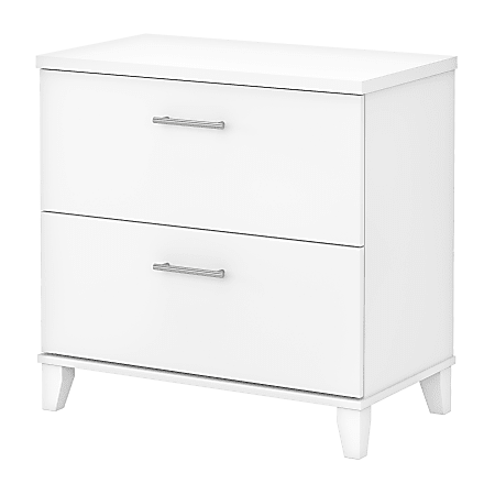 """Bush Business Furniture Somerset 30""""W Lateral 2-Drawer File Cabinet, White, Standard Delivery"""