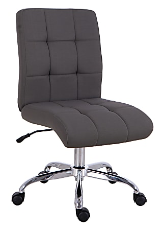 Brenton Studio® Dexie Quilted Fabric Low-Back Task Chair, Gray
