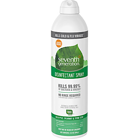Seventh Generation Disinfectant Cleaner - Spray - 13.9 fl oz (0.4 quart) - Eucalyptus Spearmint & Thyme Scent - 8 / Carton - Clear