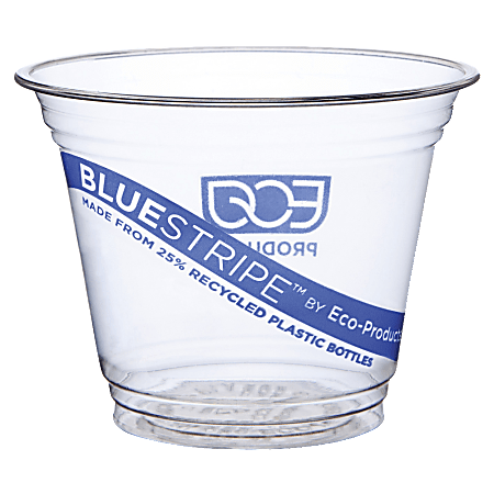 Eco-Products BlueStripe Recycled PET Cold Cups, Clear, 9 Oz, Pack Of 1,000