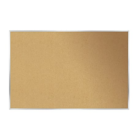 """Ghent Cork Bulletin Board, 24"""" x 36"""", Aluminum Frame With Silver Finish"""