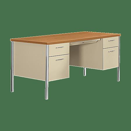 HON® 34000 Series Steel Double-Pedestal Desk, Harvest/Putty