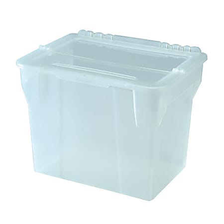 """IRIS Split-Lid File Boxes, Letter Size, 10-2/3"""" x 14-1/3"""" x 11-1/2"""", Clear, Pack Of 4 File Boxes"""