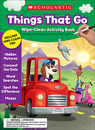 Scholastic® Things That Go Wipe-Clean Activity Book, Preschool - Grade 1