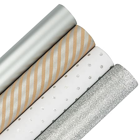 JAM Paper® Wrapping Paper, Christmas Silver Assortment, 25 Sq Ft, Pack of 4 Rolls