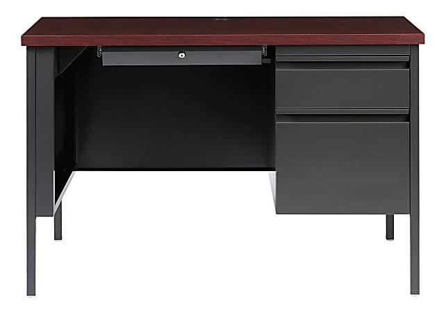 Lorell™ Fortress Steel Right-Pedestal Teacher's Desk, Charcoal/Mahogany