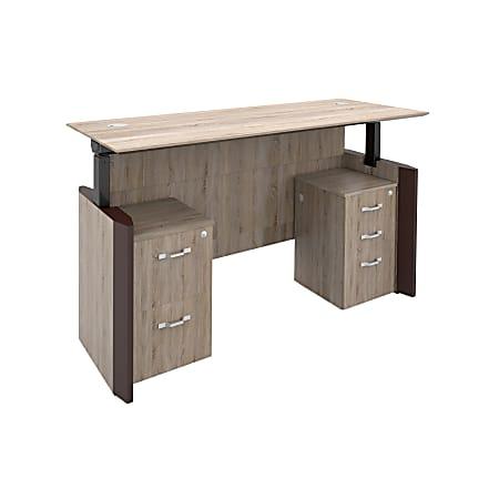 "Forward Furniture Allure Height-Adjustable Double-Pedestal Desk, 72""W x 30""D, Sunlight Ash/Brown"