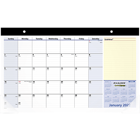 """AT-A-GLANCE® QuickNotes Compact 13-Month Desk Pad Calendar, 18"""" x 11"""", January 2022 To January 2023, SK71000"""