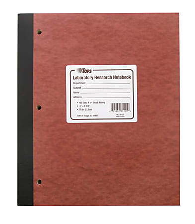 """TOPS™ Lab Research Notebook With Carbon Sheets, 9 1/4"""" x 11"""", Quad Ruled, Brown/Canary/White, 100 Sheets"""