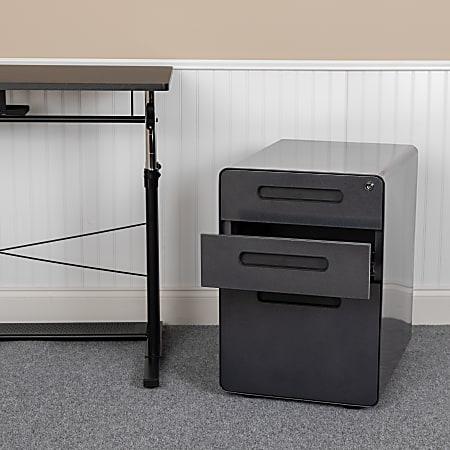 """Flash Furniture Ergonomic 21""""D Vertical 3-Drawer Mobile Locking Filing Cabinet, Metal, Black"""