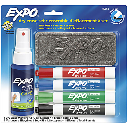 EXPO® Dry-Erase Starter Kit, Low Odor, Chisel-Tip, Assorted Ink Colors, Pack Of 4 Markers